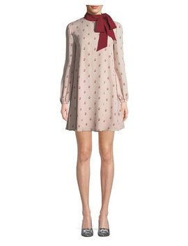 Long Sleeve Rosebud Silk Georgette Dress W/ Scarf by Valentino