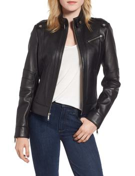 Smooth Leather Moto Jacket by Andrew Marc