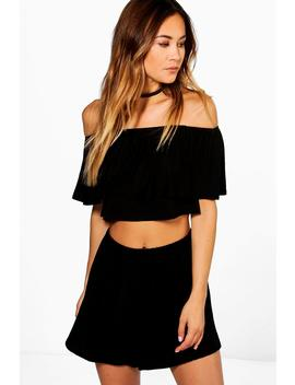 Off The Shoulder Top + Short Co Ord by Boohoo