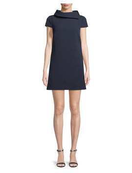 Roll Collar Short Sleeve Mini Dress by Badgley Mischka Collection