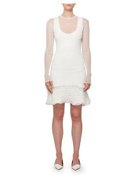 Sheer Rib Pucker Knit Ruffled Hem Mini Dress by Proenza Schouler