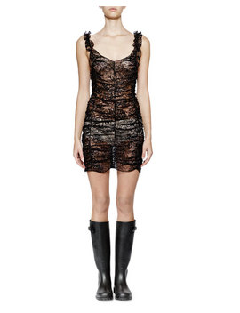 Sleeveless Metallic Lace Ruched Dress by Saint Laurent