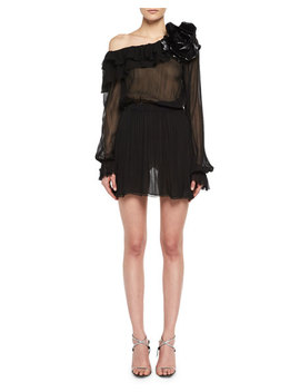 One Shoulder Silk Muslin Minidress With Leather Flower by Saint Laurent