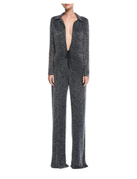 Plunging Beaded Wide Leg Jumpsuit by Naeem Khan