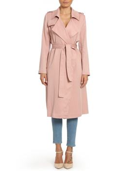 Faux Leather Trim Long Trench Coat by Badgley Mischka