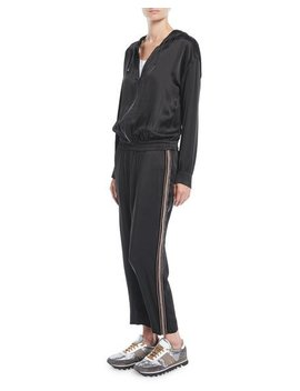 Hooded Satin Track Jumpsuit W/ Monili Racing Stripe by Brunello Cucinelli