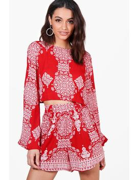 Woven Boarder Print Crop & Shorts Co Ord by Boohoo
