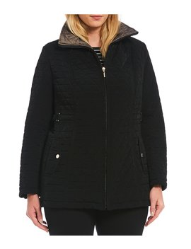 Plus Size Detachable Hood Quilted Coat by Gallery