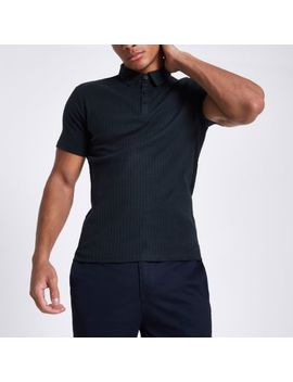 Navy Essential Ribbed Muscle Fit Polo Shirt by River Island
