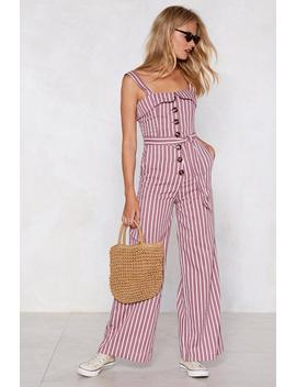 Push My Buttons Striped Jumpsuit by Nasty Gal