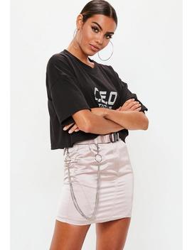 Grey Satin Chain Seatbelt Mini Skirt by Missguided