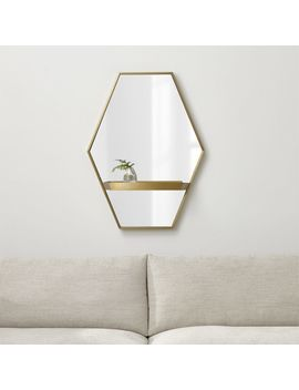 Reina Brass Wall Mirror With Shelf by Crate&Barrel