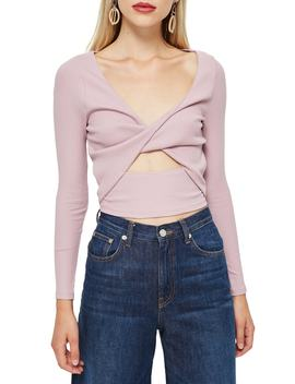 Twist Front Rib Top by Topshop