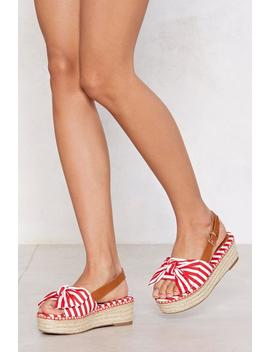 Bow Limits Striped Espadrille Sandal by Nasty Gal