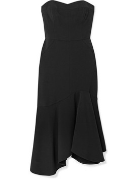 Strapless Crepe Midi Dress by Halston Heritage