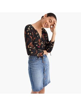 Point Sur Drapey Open V Neck Top In Floral by J.Crew
