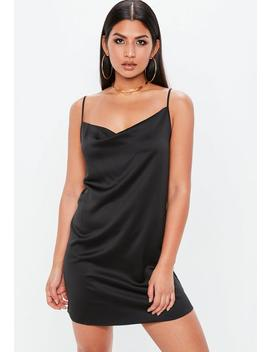 Black Satin Crepe Strappy Cowl Shift Dress by Missguided