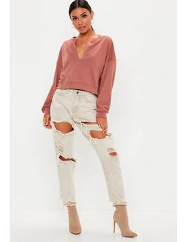 Pink Notch Neck Sweatshirt by Missguided