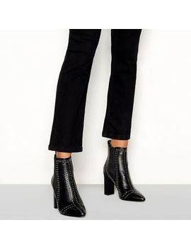 Faith   Black Studded 'beale' Block Heel Chelsea Boots by Faith