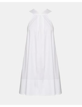 Stretch Cotton Halter Cascade Dress by Theory