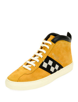 Men's Vita Retro High Top Sneakers, Yellow by Bally