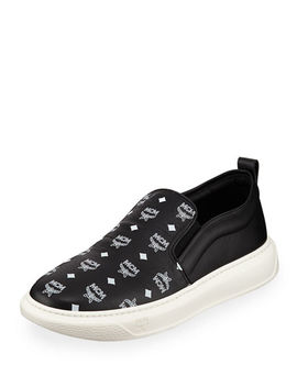 Men's Visetos Canvas/Leather  Slip On Sneakers by Mcm