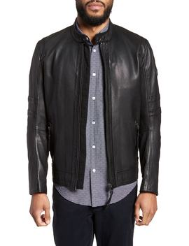 Jaylo Slim Fit Leather Moto Jacket by Boss