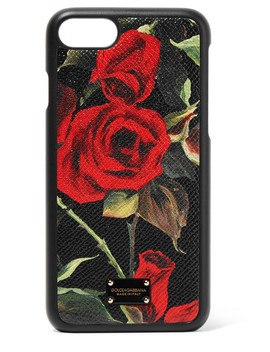 Floral Print Textured Leather I Phone 7 And 8 Case by Dolce & Gabbana