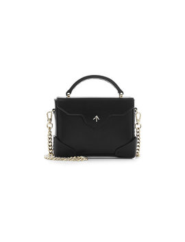 Micro Bold Leather Shoulder Bag With Chain Strap by Manu Atelier