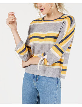 Juniors' Striped Waffle Textured Top by Self Esteem