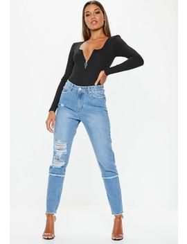 Blue Riot Rip And Repair Mom Jeans by Missguided