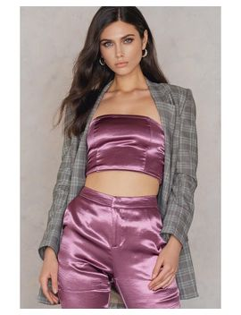 Women's Purple Metallic Bandeau Top by Na Kd