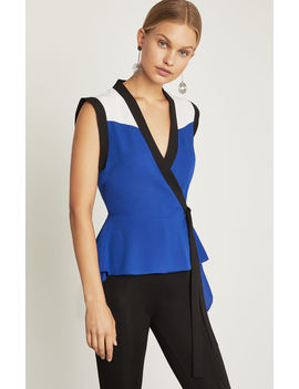 Colorblocked Wrap Top by Bcbgmaxazria