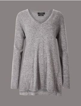 Pure Cashmere Textured Longline Jumper by Marks & Spencer