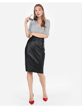 High Waisted Seamed (Minus The) Leather Pencil Skirt by Express