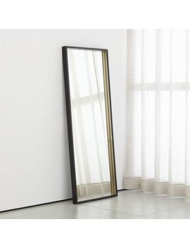 Liam Black Frame Floor Mirror With Brass Inlay by Crate&Barrel