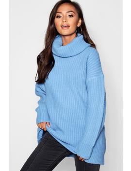 Petite Oversized Roll Neck Rub Knit Jumper by Boohoo
