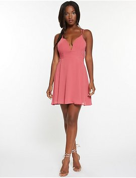 Notched Open Back Skater Dress by Charlotte Russe