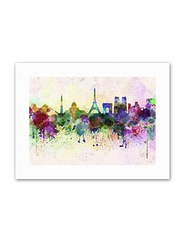 Wee Blue Coo Cityscape Paint Splash Skyline Paris Painting Canvas Art Print by Wee Blue Coo