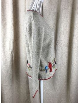 Northern Isles Women Sweater Wool Cotton Birds Size Medium by Northern Isles