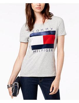 Velvet Flocked Logo T Shirt, Created For Macy's by Tommy Hilfiger