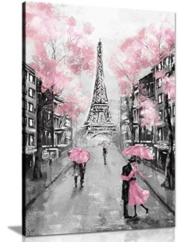 Pink Black & White Paris Painting Canvas Wall Art Picture Print (36x24) by Panther Print