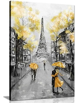 Yellow Black & White Paris Painting Canvas Wall Art Picture Print (18x12) by Panther Print