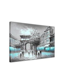 "Blue Iconic Arc De Triomphe In Paris France On Framed Canvas Art Print Home Decor Pictures Oil Painting Re Print Size: A2 24"" X 16"" (60cm X 40cm) by Canvas It Up"
