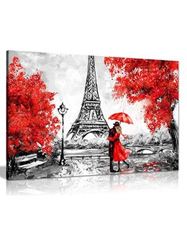 Paris Oil Painting Reproduction Eiffel Tower Red Umbrella Canvas Wall Art Picture Print (24x16) by Panther Print