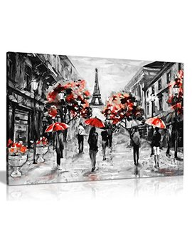Modern Contemporary Black White Red Paris Eiffel Tower Canvas Wall Art Picture Print (24x16) by Panther Print