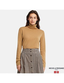 Women Ines Cashmere Longline Turtle Neck Jumper by Uniqlo