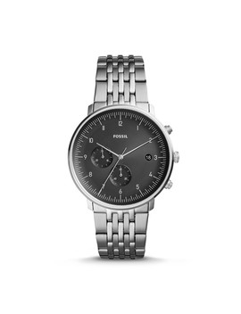 Chase Timer Chronograph Smoke Stainless Steel Watch by Fossil