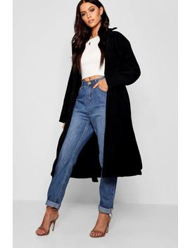 Belted Collared Wool Look Coat by Boohoo