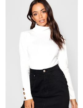 Rib Knit Roll Neck With Horn Button by Boohoo